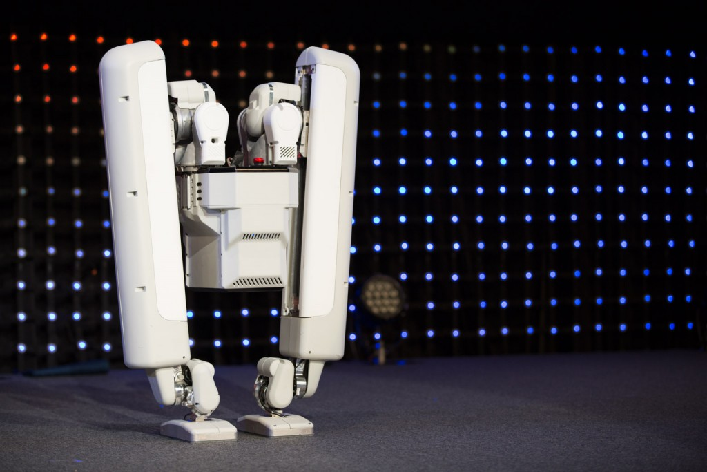 The robots were showcased live on stage during Andy Rubin's keynote speech.