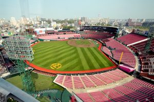 A view of Rakuten Kobo Stadium Miyagi from the Ferris Wheel