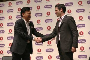 Hiroshi Mikitani and Talmon Marco at announcement of Rakuten's acquisition of Viber