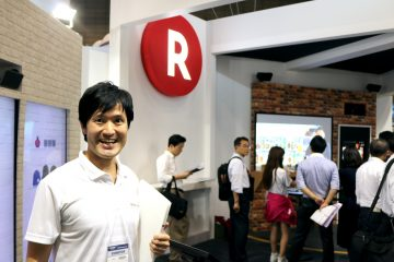 "Sanjo Masahiro of the Rakuten Institute of Technology (RIT), in front of the ""Kitemiroom"""