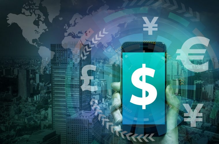 smart phone and financial technology (FinTech), US dollar and key currency symbols,  worldwide trading, abstract image visual
