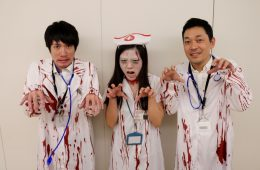 Rakuten employees show off some bloody good costumes.