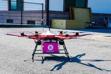 Rakuten delivery drone in action