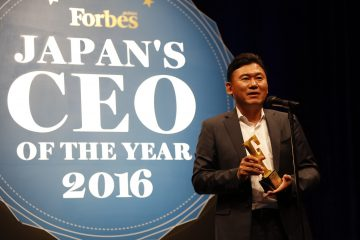 Mickey speaks at the Forbes Japan CEO of The Year event, where he was recognized because Rakuten was the highest-ranking Japanese company in the Forbes Most Innovative Companies of 2016 list.