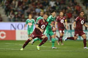 At Rakuten football has a special place. Vissel Kobe's Leandro, the joint league leading scorer, spearheads the team's creative style (C) VISSEL KOBE