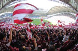 At Rakuten football has a special place. Vissel Kobe fans cheering on the team (C) VISSEL KOBE