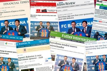 Media attention surrounding Rakuten's sponsorship of FC Barcelona