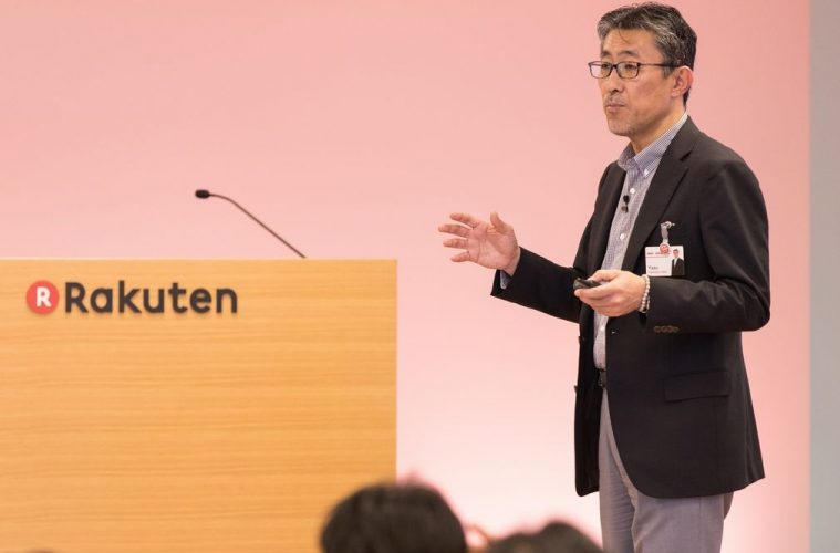 Rakuten CIO Yasufumi Hirai speaks about the intelligent society on stage at the Rakuten Technology Conference 2016