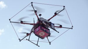 "The Sora Raku ""Tenku"" drone used in the trial is controlled via NTT DOCOMO's LTE network. This was the first deployment of LTE drone control in a delivery trial."