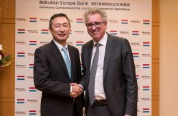 (R-L) Pierre Gramegna, Luxembourg's Minister of Finance, and Masayuki Hosaka, Representative Director and Vice Chairman of Rakuten and head of the group's fintech businesses, at the Embassy of Luxembourg
