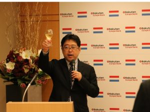 REB CEO Toshihiko Otsuka toasts the launch of commercial operations of REB at the Embassy of Luxembourg
