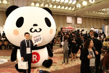 The giant Rakuten Panda that towered over everyone in the event hall of the Rakuten Ichiba New Year Conference 2017.