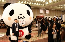 The giant Rakuten Panda that towered over everyone in the event hall.