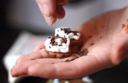 Sprinkle chocolate strands. Making Gingerbread Cookies Series.