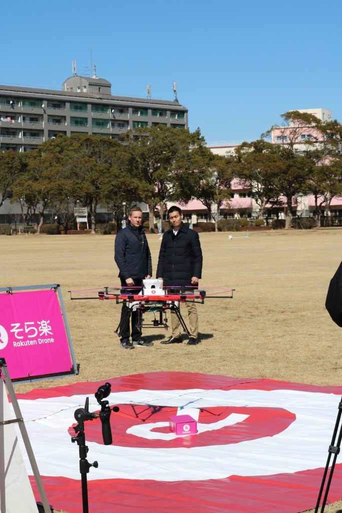 The drone successfully delivered its load in the landing zone and took off again.