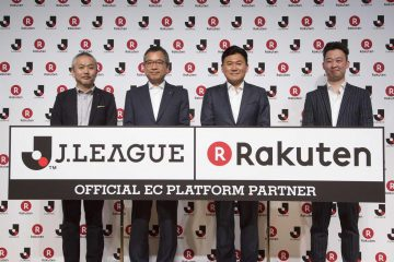 "Photo: (L-R)Hiroaki Dei, Managing Executive Officer of J.League Digital Inc., Mitsuru Murai, Chairman of the Japan Professional Sports Association, Rakuten Chairman and CEO Hiroshi ""Mickey"" Mikitani, E-Commerce Company executive Shunsuke Yazawa."