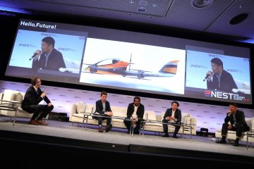 Journalist Tim Hornyak, Ben Marcus of AirMap, Gajan Mohanarajah of Rapyuta Robotics, Takashi Toraishi of Rakuten and Tian Yu of YUNEEC Technology discussed a future in which flying robots are a part of life.