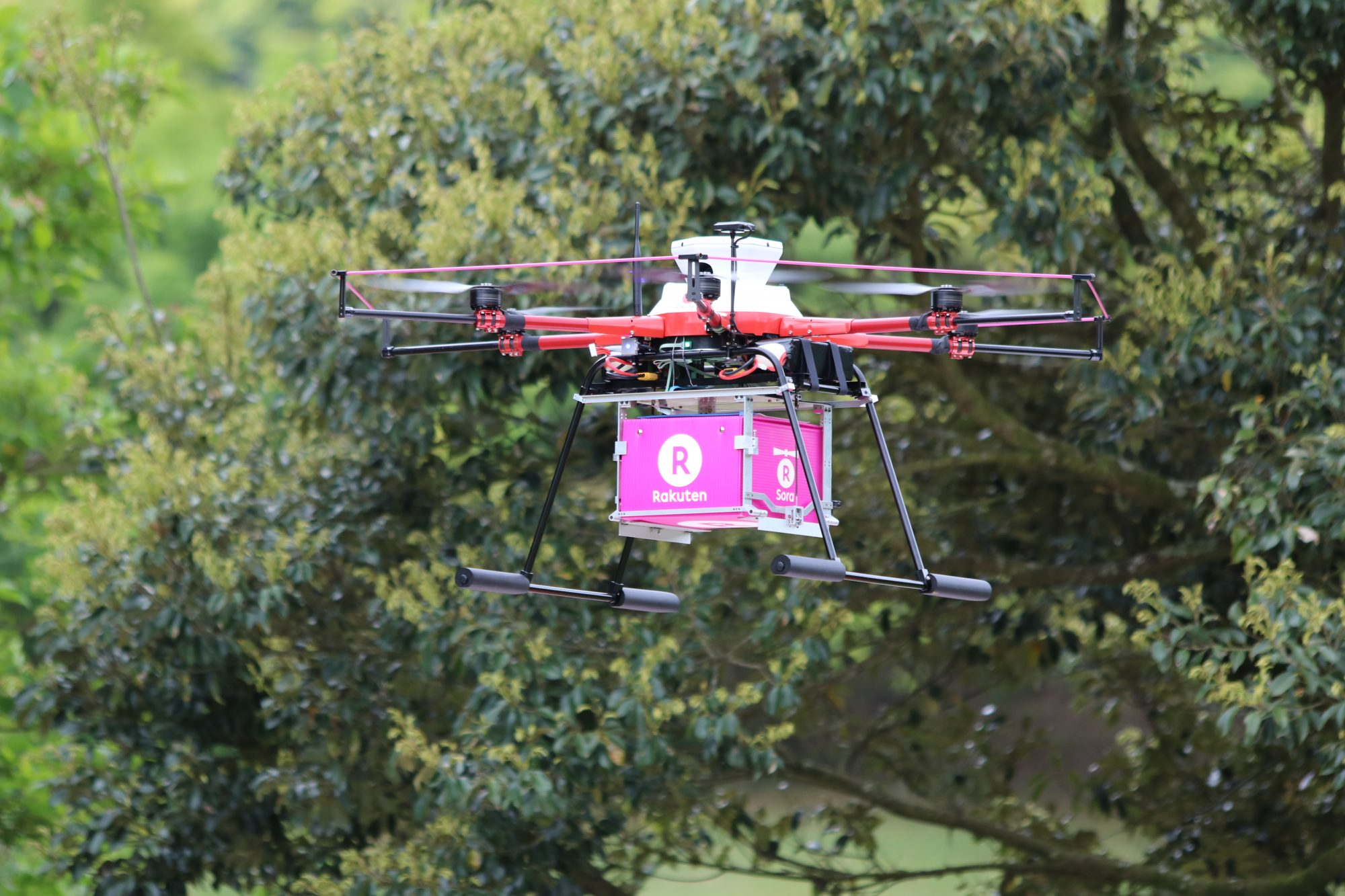 Rakuten drone delivers flowers for Mother's Day