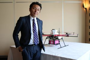 Takashi Toraishi, President at Rakuten's New Service Development Company believes drones help Minamisoma with everything from supporting healthcare services to fighting forest fires.