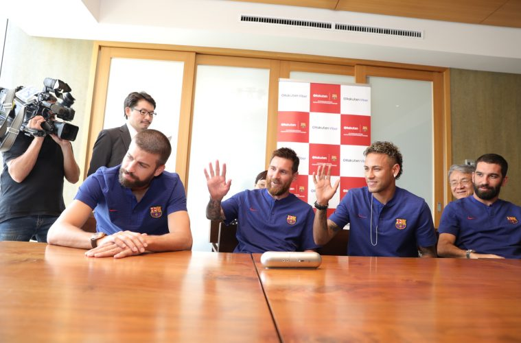 Fans chatted with FC Barcelona superstars Pique, Messi, Neymar Jr. and Turan over a Viber video call in Tokyo.