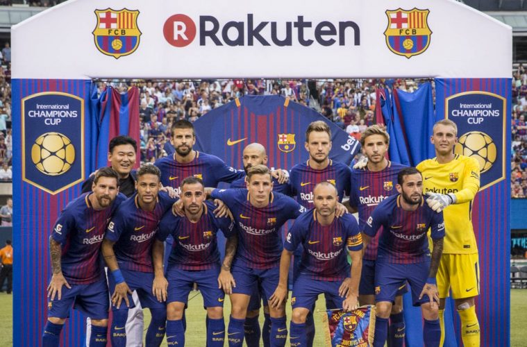 hot sale online fd42f 75fb3 FC Barcelona unveils Rakuten jerseys for stylish win over ...