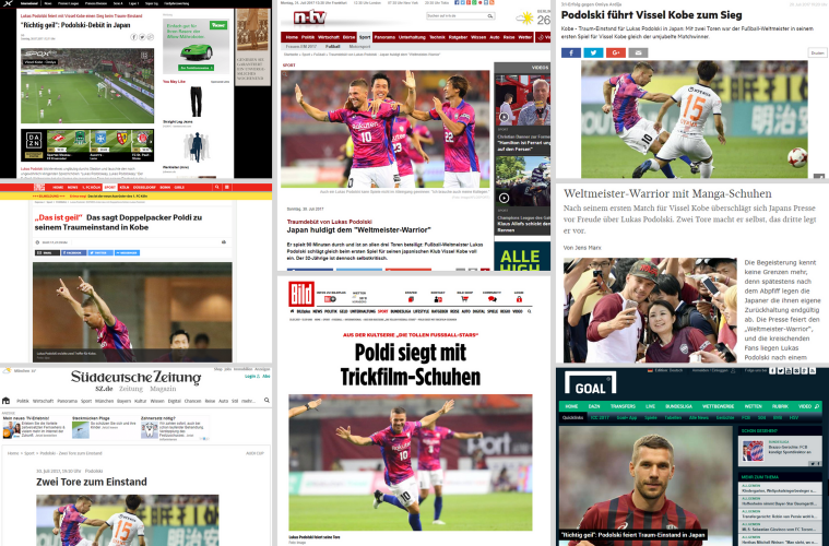 German media reacts to Poldi Vissel Kobe debut