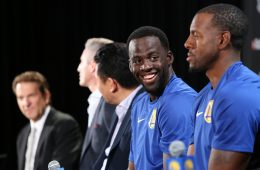 Warriors all-star Draymond Green smiles at jersey-badge partnership event with Rakuten