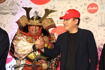 "Rakuten CEO Hiroshi ""Mickey"" Mikitani and AirAsia CEO Tony Fernandes (who left his suit and tie at home for the event) were on hand for a one-of-a-kind reception at the Chubu Centrair International Airport in Nagoya on October 27th."