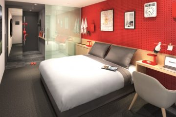 An example of the Rakuten STAY design concept for a single room. Rakuten STAY rooms are designed to provide guests with all they need to enjoy their stay in the local area, while maximizing the use of space through functional facilities, such as fold down beds and movable bed tables.