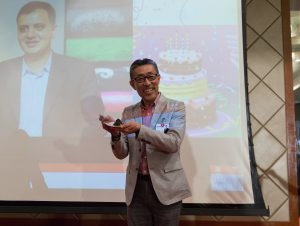 Rakuten XYZ Yasufumi Hirai wishes Rakuten India CEO XYZ a happy birthday on stage on day two of the summit.