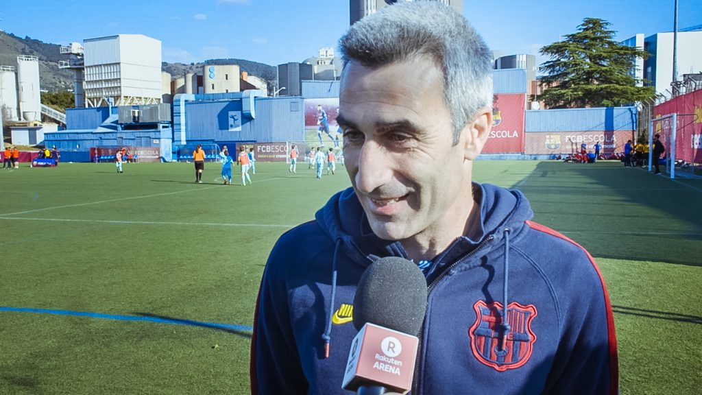 Iñaki Andreu, Project Manager Europe & Africa, FCBEscola, Speaks with the Rakuten Today team at FCBEscola International Tournament, Presented by Rakuten