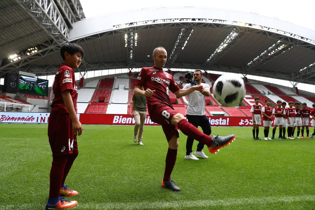 Iniesta kicked 10 balls into the ecstatic Vissel Kobe crowd.