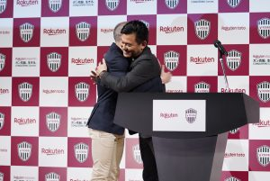 "Iniesta was greeted on stage by Rakuten founder and CEO Hiroshi ""Mickey"" Mikitani who praised Iniesta's ""world-class play style and technique."""