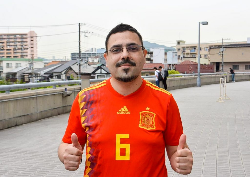 """It's amazing, amazing,"" repeated Fernando Moreira, originally from Galicia in Spain, now living in Kobe, as he left Noevir Stadium in Kobe draped in a Spanish flag."