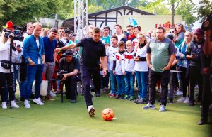Poldi showed off his famous left foot at a shootout game on the grounds of the event.