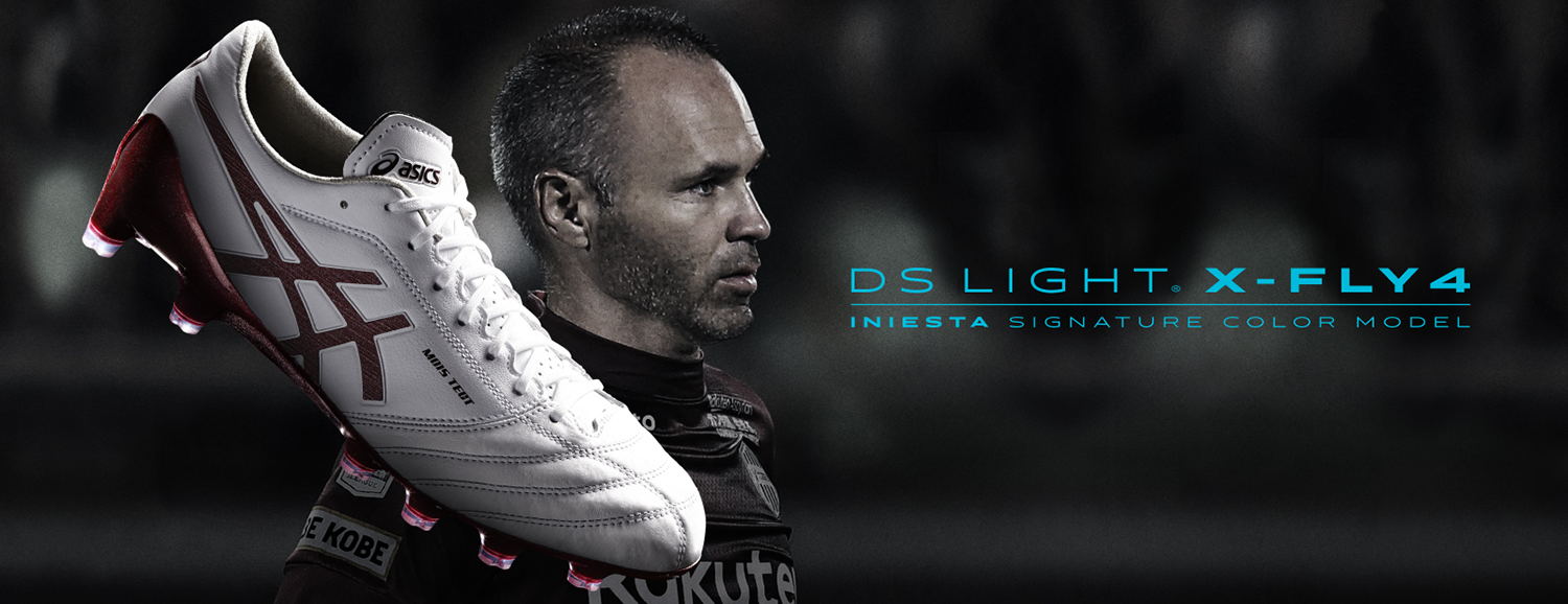 Iniesta's new ASICS boot comes in crimson red.