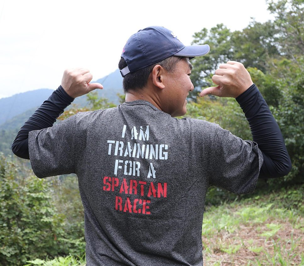 Mickey's training for a Spartan Race
