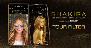 The Shakira El Dorado AR Filter, which allows users to take photos with the El Dorado World Tour background, has proven successful with Rakuten Arena's Facebook followers.