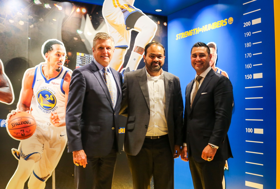 Rick Welts (left) with Rahul Kadavakolu, director of global marketing and branding at Rakuten (center) and Mike Kitts, vice president of global partnerships for the Golden State Warriors (right) at Rakuten Crimson House in Tokyo.
