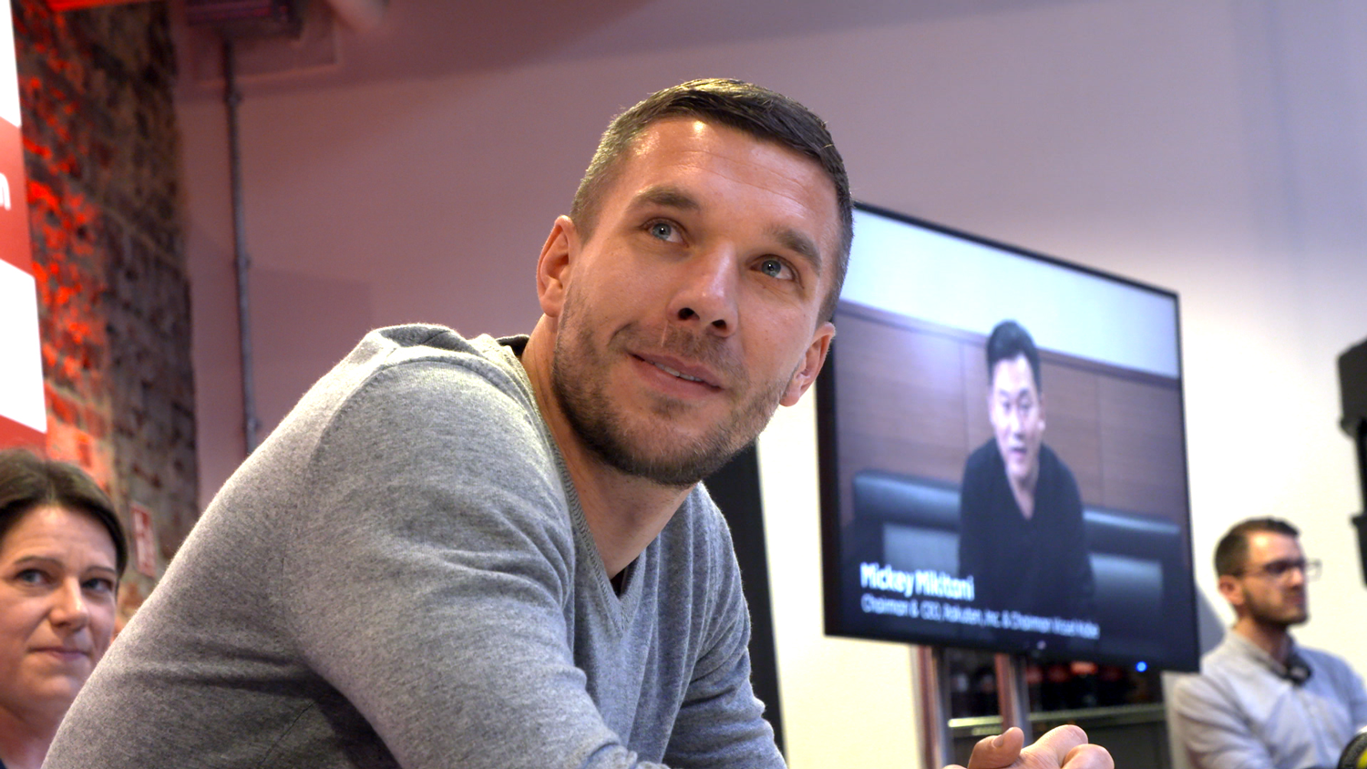 Rakuten CEO Mickey Mikitani congratulates Lukas Podolski via video on his appointment as Global Brand Ambassador for Rakuten at the Schauinsland-Reisen Cup 2019.