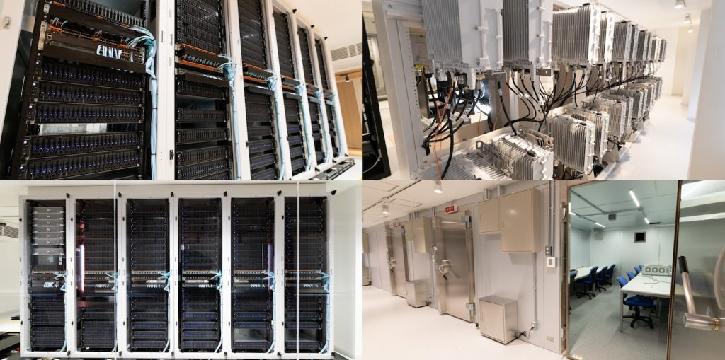 Photos of facility interior (Upper and lower left: server room, upper right: radio station equipment, lower right: shield room)