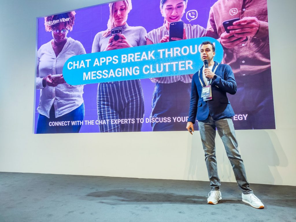 Rakuten Viber's Momchil Elenkov explaining how chat apps can help breaking through the messaging clutter.
