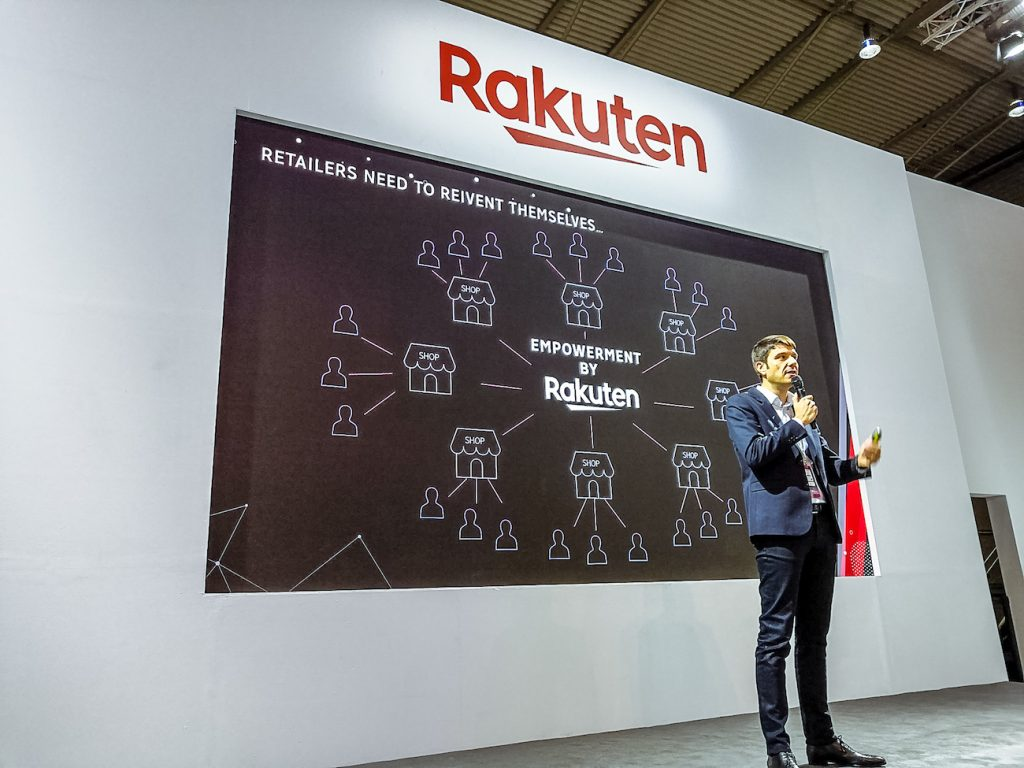 Fabien Versavau, CEO of Rakuten France, highlighting the more than 15 million unique Rakuten users and 12,000 Rakuten merchants in Europe.