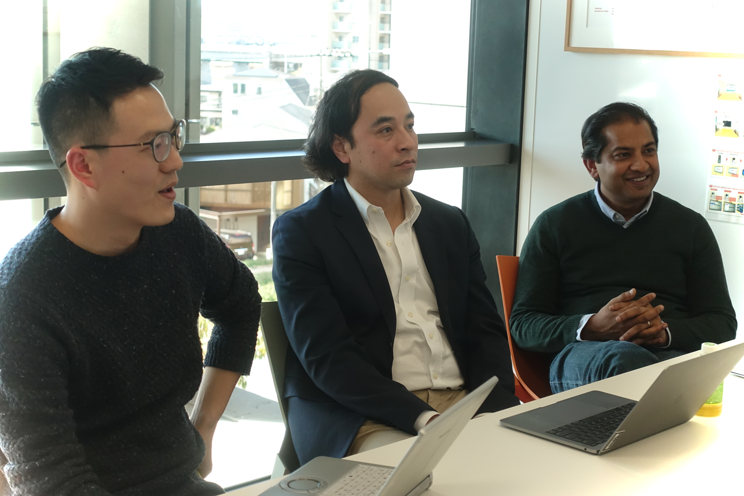 Tianyu Li (left) from Rakuten Institute of Technology, Hiroki Mizokami (center), from Rakuten's AIris Science Team, and Ashish Pandey (right) senior vice president of Data Science Products at Rakuten USA explain how AIris helps brands find new customers they never knew existed.