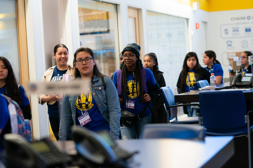 Middle schoolers from Girls Inc. of Alameda County toured Warriors HQ before being paired with mentors from the organization as part of a special Future Leaders Experience.