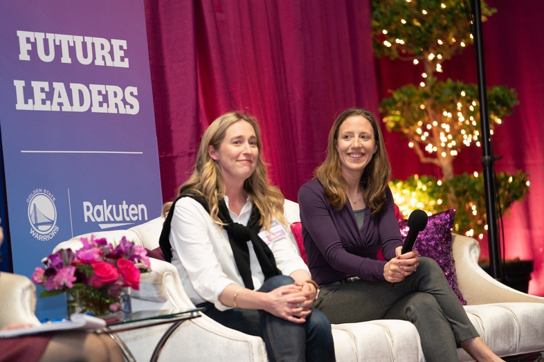 Speaking to a crowd of young women from Girls Inc., Rakuten Ebates COO Adrienne Down Coulson (left) and Lindsay Gottlieb (right) stressed the importance of staying true to yourself and pursuing your passions.