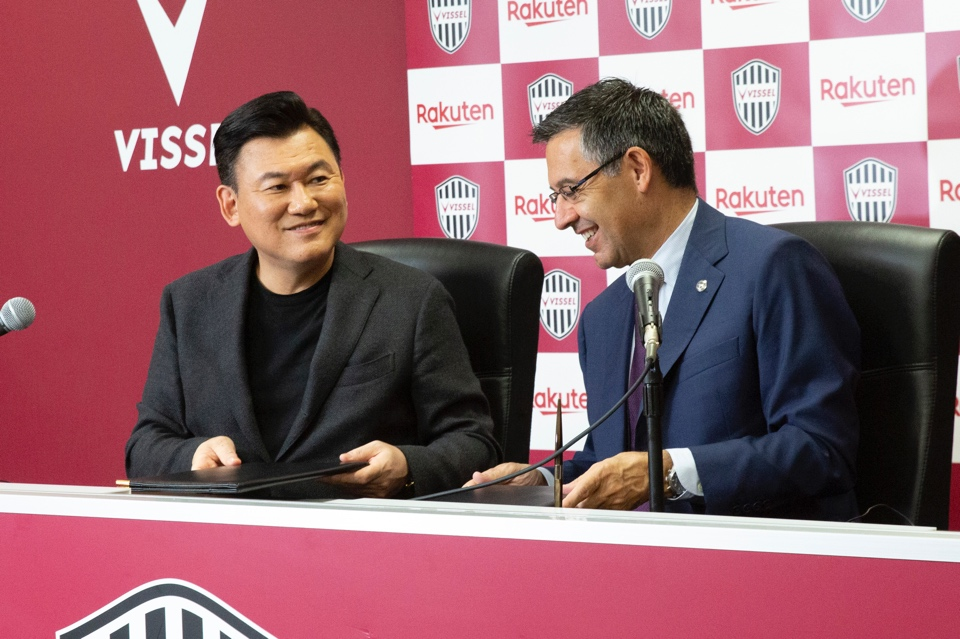 Rakuten CEO and chairman of Vissel Kobe Mickey Mikitani (left) and FC Barcelona president Josep Maria Bartomeu announced a partnership between the two clubs that will include sharing of business insights, scouting information and team analysis.