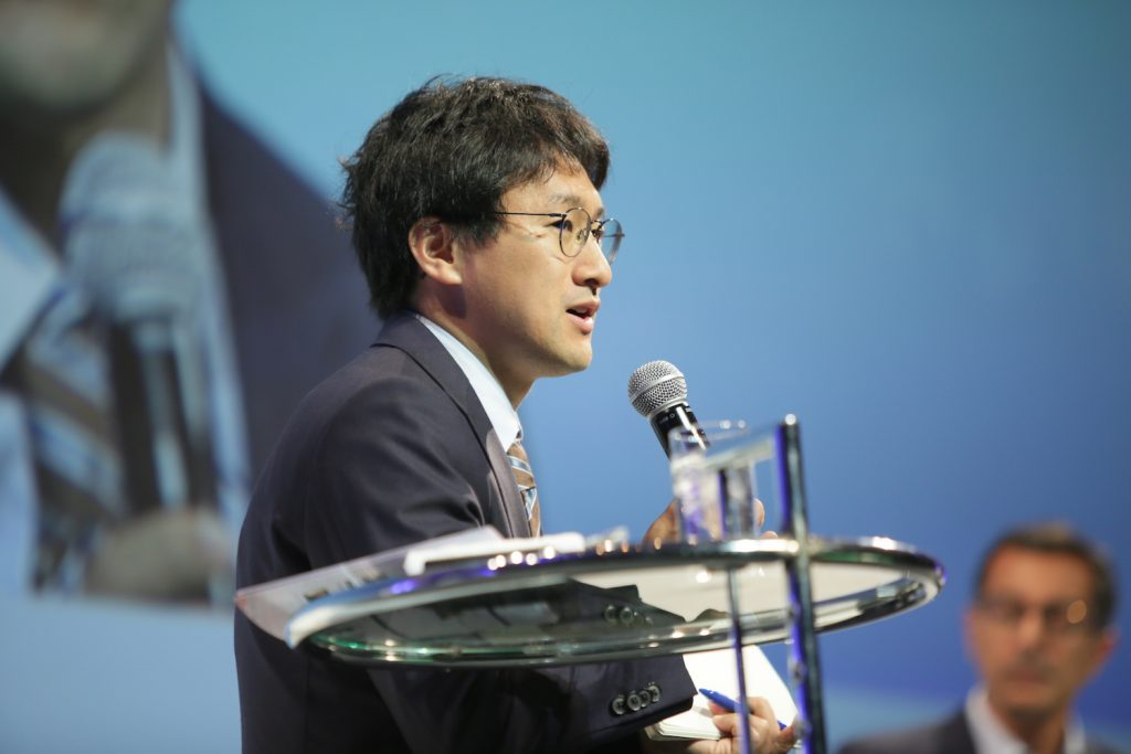 Takuya Kitagawa, director of Rakuten's Global Data Supervisory Department, moderated a session on AI and medicine at the recent New Economy Summit (NEST) in Tokyo.