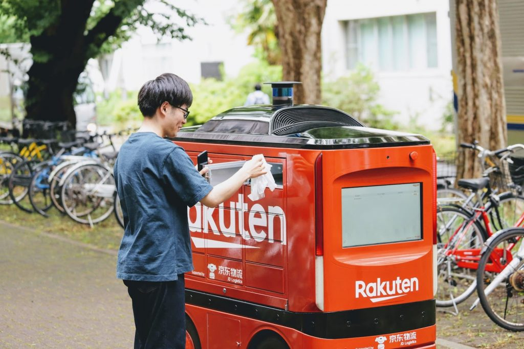 Students entered a code on the robot's touchscreen to pick up their order from one of its delivery compartments.