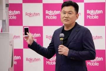 Rakuten CEO Mickey Mikitani announcing the launch of the company's new mobile operator service at a press conference in Tokyo.